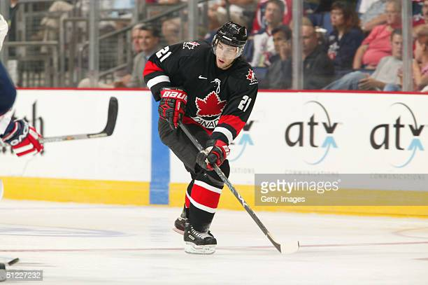 Simon Gagne of Team Canada skates against team USA during an exhibition game in the World Cup of Hockey on August 23 2004 at Nationwide Arena in...