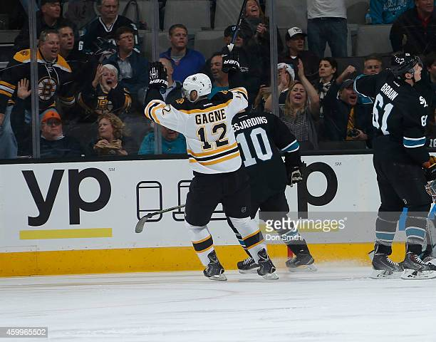 Simon Gagne of the Boston Bruins celebrates a goal against the Boston Bruins during an NHL game on December 4, 2014 at SAP Center in San Jose,...