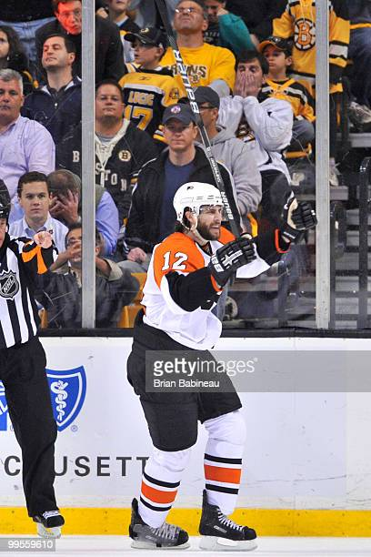 Simon Gagne of the Philadelphia Flyers scores a goal against the Boston Bruins in Game Seven of the Eastern Conference Semifinals during the 2010 NHL...