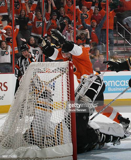 Simon Gagne of the Philadelphia Flyers scores at 1440 of overtime to defeat the Boston Bruins in Game Four of the Eastern Conference Semifinals...