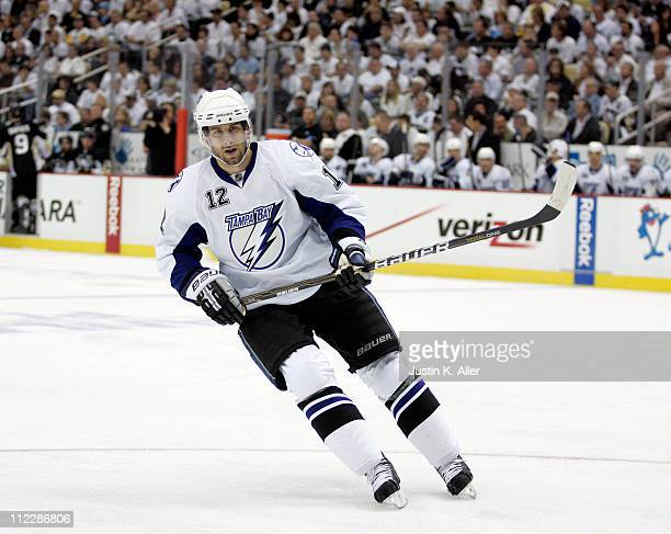 Simon Gagne of the Tampa Bay Lightning skates against the Pittsburgh Penguins in Game Two of the Eastern Conference Quarterfinals during the 2011 NHL...