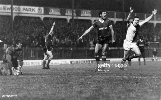 Simon Garner Blackburn Rovers football player celebrates after scoring a goal at Ewood Park December 1983. League match Division Two Blackburn Rovers...