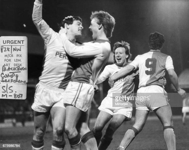 Simon Garner Blackburn Rovers football player celebrates after scoring a goal with team mates Simon Barker & Alan Ainscow March 1987.