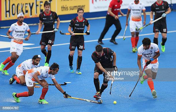 Simon Gaugnard of Belgium during the FIH Mens Hero Hockey Champions Trophy match between Belgium and India at Queen Elizabeth Olympic Park on June 13...