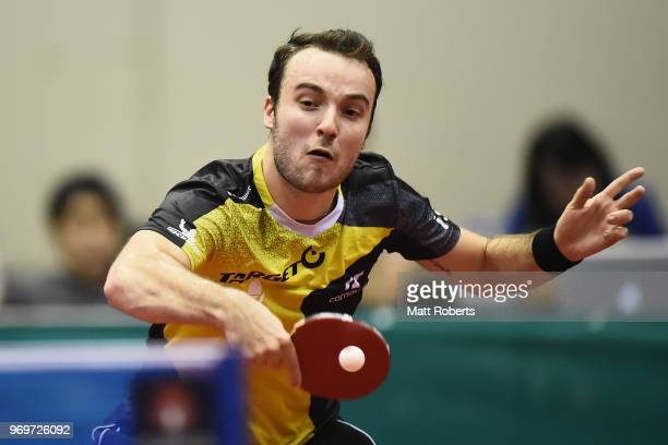 Simon Gauzy of France competes against ChihYuan Chuang of Chinese Taipei during the men's singles match on day one of the ITTF World Tour LION Japan...