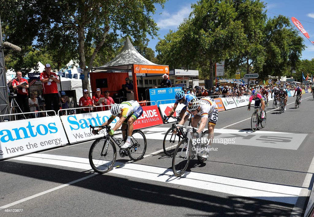 Simon Gerrans edges out Andre Greipel to win the stage from Nurioopta to Angaston. during day two of the Tour Down Under on January 21, 2014 in Adelaide, Australia.