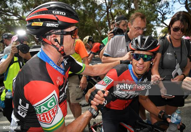 Simon Gerrans of Australia and BMC Racing Team congratulates stage winner Richie Porte of Australia and BMC Racing Team after stage five of the 2018...