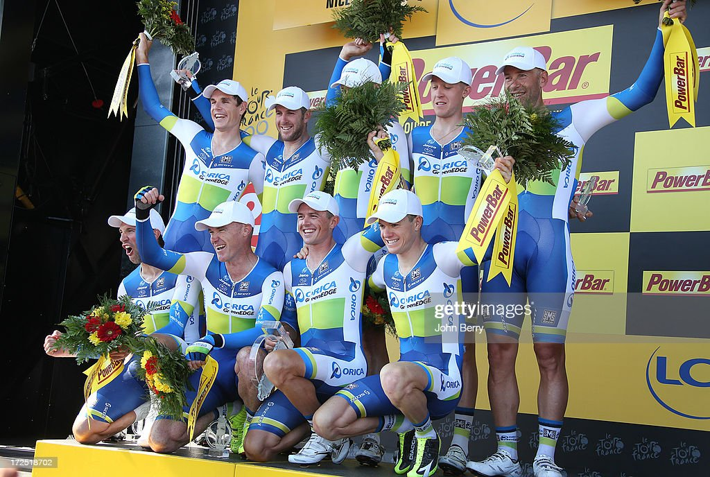 Simon Gerrans of Australia and Team Orica-GreenEdge takes the yellow jersey after winning with his teammates Stage Four of the Tour de France 2013 - the 100th Tour de France -, a 25km team time trial around Nice on July 2, 2013 in Nice, France.
