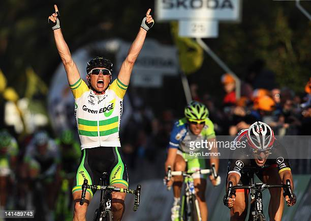 Simon Gerrans of Australia and the Greenedge Cycling team outsprints Fabian Cancellara of Switzerland and Radioshack Nissan Trek to win the 2012...