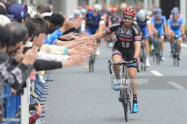 Simon Geschke, a professional German road cyclist for Team GiantAlpecin, with the public at the end of the Points Race, at the fouth edition of the...