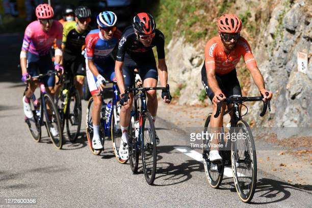 Simon Geschke of Germany and CCC Team /Pavel Sivakov of Russia and Team INEOS Grenadiers / Romain Sicard of France and Team Total Direct Energie /...
