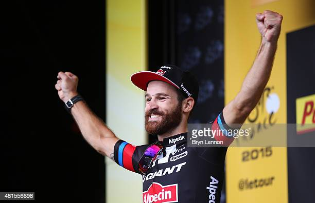Simon Geschke of Germany and Team GiantAlpecin celebrates on the podium after winning Stage Seventeen of the 2015 Tour de France a 161km stage...