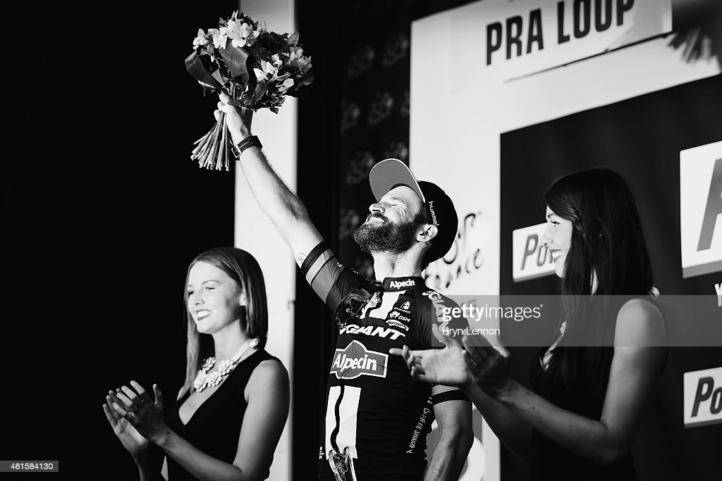 Simon Geschke of Germany and Team Giant-Alpecin celebrates on the podium after winning Stage Seventeen of the 2015 Tour de France, a 161km stage between Digne-les-Bains and Pra Loup on July 22, 2015 in Pra Loup, France.