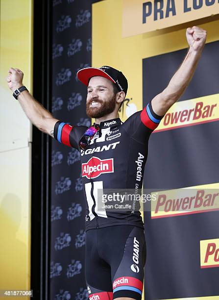 Simon Geschke of Germany and Team Giant-Alpecin celebrates winning stage seventeenth of the 2015 Tour de France, a 161 km stage from Digne-Les-Bains...