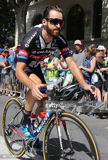 Simon Geschke of Germany and Team GiantAlpecin gets ready for stage eighteenth of the 2015 Tour de France a 1865 km stage from Gap to Saint Jean de...