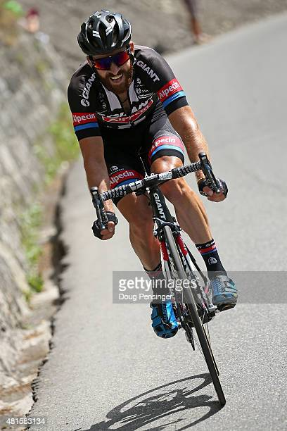 Simon Geschke of Germany riding for GiantAlpecin launches a solo attack on the brekaway as he went on to win stage 17 of the 2015 Tour de France from...