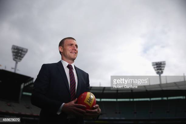 Simon Goodwin assistant coach for the Melbourne Demons poses for the media after a Melbourne Demons AFL press conference at Melbourne Cricket Ground...