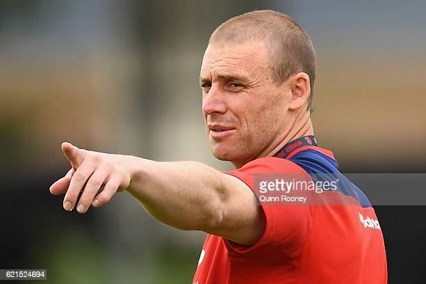 Simon Goodwin the coach of the Demons gives instructions during a Melbourne Demons AFL preseason training session at Gosch's Paddock on November 7...