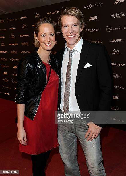Simon Goosejohann and actress Angela FingerErben arrive for the Michalsky StyleNite during the Mercedes Benz Fashion Week Autumn/Winter 2011 at...