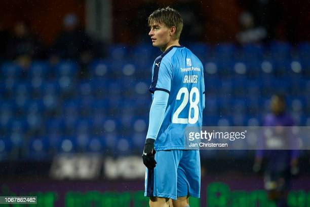 Simon Graves Jensen of Randers FC looks on during the Danish Superliga match between Randers FC and FC Midtjylland at Cepheus Park Randers on...