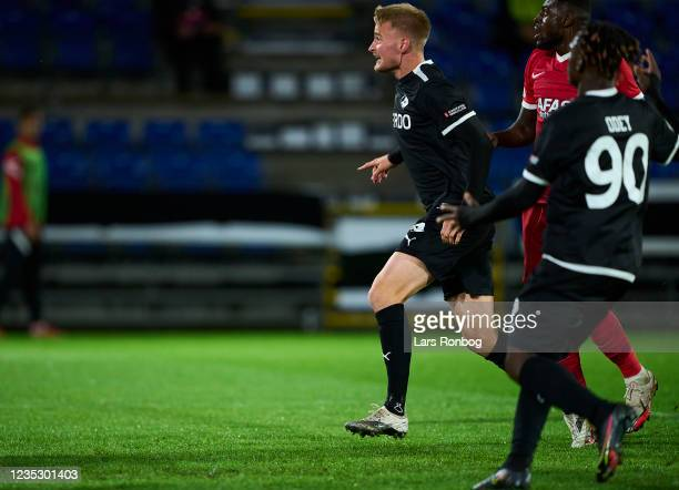 Simon Graves of Randers FC celebrates after scoring their second goal during the UEFA Conference League match between Randers FC and AZ Alkmaar at...