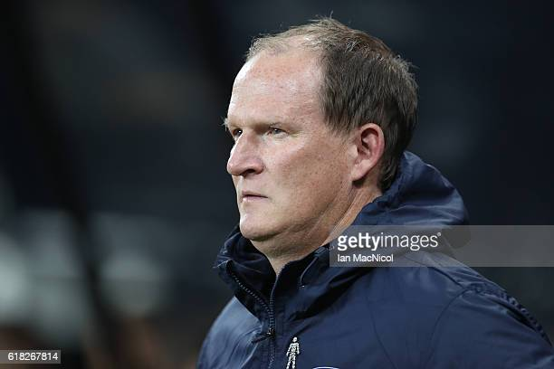 Simon Grayson manager of Preston North End looks on during the EFL Cup Fourth Round match between Newcastle United and Preston North End at St James'...