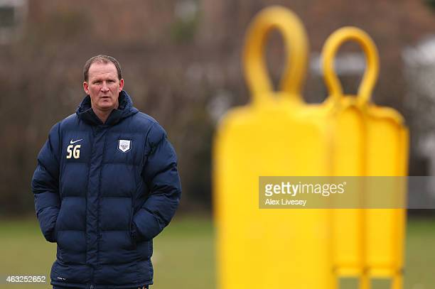 Simon Grayson the manager of Preston North End looks on during a training session at Springfields Training Centre on February 12 2015 in Preston...