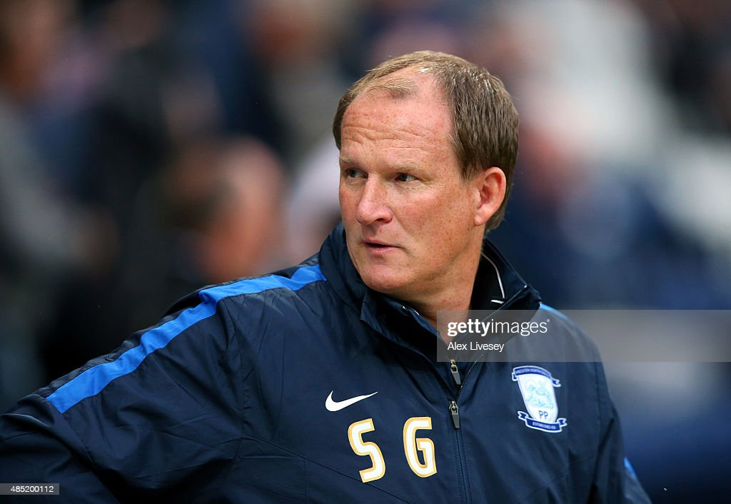 Simon Grayson the manager of Preston North End looks on prior to the Capital One Cup Second Round match between Preston North End and Watford at Deepdale on August 25, 2015 in Preston, England.