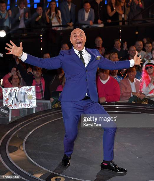 Simon Gross enters the Big Brother Timebomb house at Elstree Studios on May 12 2015 in Borehamwood England