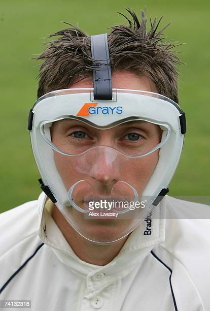 Simon Guy the wicket keeper of Yorkshire wears a protective mask during the LV County Championship match between Yorkshire and Worcestershire at...