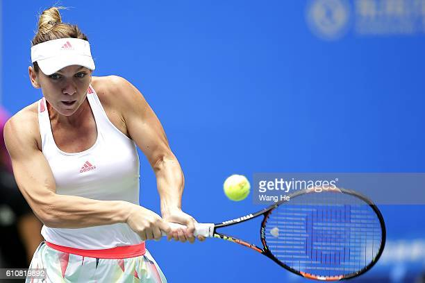 Simon Halep of Romania returns a shot during the match against Yaroslava Shvedova Of Kazakhstan on Day 4 of 2016 Dongfeng Motor Wuhan Open at Optics...