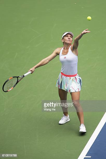 Simon Halep of Romania serves during the match against Yaroslava Shvedova Of Kazakhstan on Day 4 of 2016 Dongfeng Motor Wuhan Open at Optics Valley...