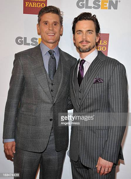 Simon Halls and actor Matt Bomer arrive at the 8th annual GSLEN Respect Awards at Beverly Hills Hotel on October 5 2012 in Beverly Hills California