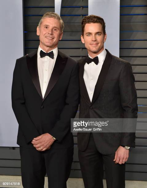 Simon Halls and actor Matt Bomer attend the 2018 Vanity Fair Oscar Party hosted by Radhika Jones at Wallis Annenberg Center for the Performing Arts...