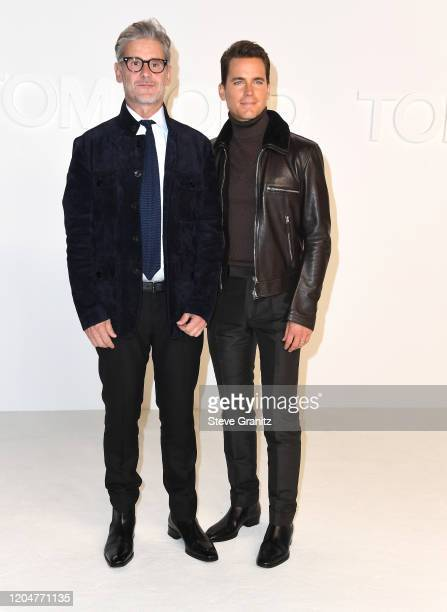 Simon Halls and Matt Bomer arrives at the Tom Ford AW20 Show at Milk Studios on February 07 2020 in Hollywood California