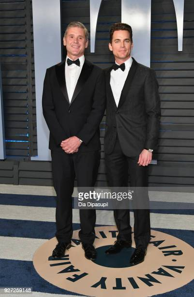 Simon Halls and Matt Bomer attend the 2018 Vanity Fair Oscar Party hosted by Radhika Jones at Wallis Annenberg Center for the Performing Arts on...