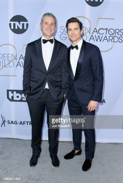 Simon Halls and Matt Bomer attend the 25th Annual Screen ActorsGuild Awards at The Shrine Auditorium on January 27 2019 in Los Angeles California