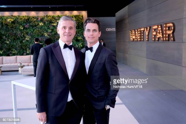 Simon Halls and Matt Bomerattend the 2018 Vanity Fair Oscar Party hosted by Radhika Jones at Wallis Annenberg Center for the Performing Arts on March...