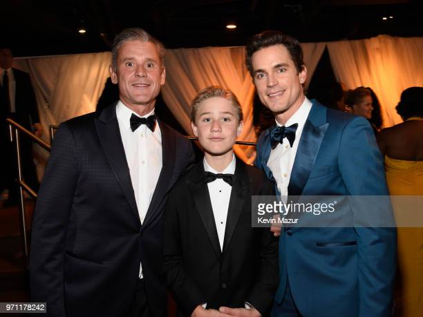 Simon Halls Kit Halls and Matt Bomer pose backstage during the 72nd Annual Tony Awards at Radio City Music Hall on June 10 2018 in New York City