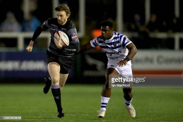 Simon Hammersley of Newcastle Falcons in action during the Premiership Rugby Cup match between Newcastle Falcons and Bath Rugby at Kingston Park on...