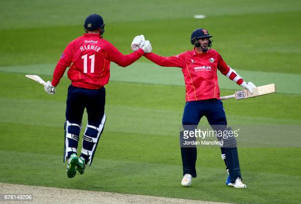 Simon Harmer and Matthew Quinn of Essex celebrate hitting the winning runs during the Royal London OneDay Cup match between Surrey and Essex at The...