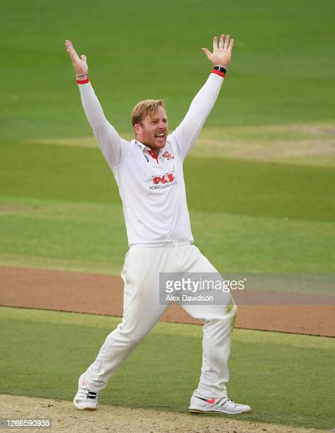 Simon Harmer of Essex appeals unsuccessfully during Day 2 of The Bob Willis Trophy match between Sussex and Essex at The 1st Central County Ground on...