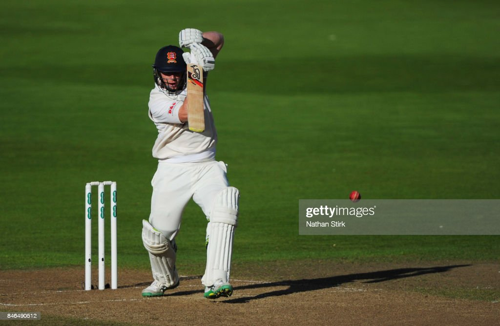 Simon Harmer of Essex batting during the County Championship Division One match between Warwickshire and Essex at Edgbaston on September 13, 2017 in Birmingham, England.
