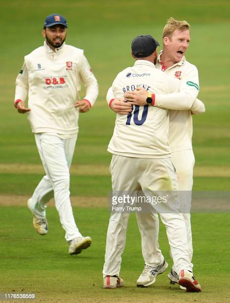 Simon Harmer of Essex celebrates after taking the wicket of Tom Banton of Somerset during Day One of the Specsavers County Championship Division One...