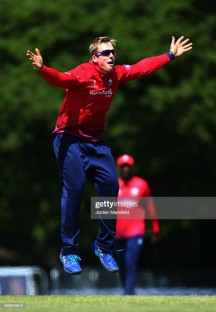 Simon Harmer of Essex celebrates dismissin Eoin Morgan of Middlesex during the Royal London One-Day Cup match between Middlesex and Essex at Radlett Cricket Club on May 17, 2018 in Radlett, England.