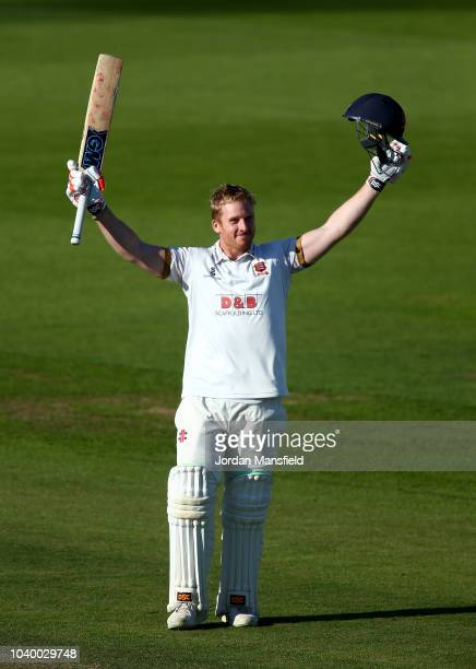 Simon Harmer of Essex celebrates his century during day two of the Specsavers County Championship Division One match between Surrey and Essex at The...