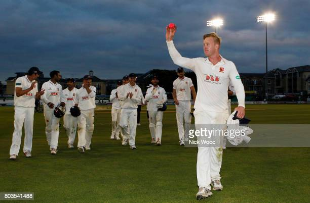Simon Harmer of Essex celebrates taking the final wicket during the Essex v Middlesex Specsavers County Championship Division One cricket match at...