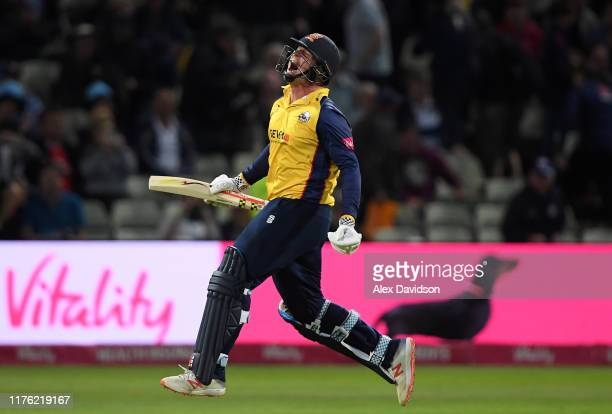 Simon Harmer of Essex celebrates victory during the Vitality T20 Blast Final match between Worcestershire Rapids and Essex Eagles at Edgbaston on...