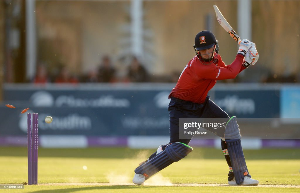 Simon Harmer of Essex Eagles is bowled by Karl Carver during the Royal London One-Day Cup match between Essex Eagles and Yorkshire Vikings at the Cloudfm County Ground on June 14, 2018 in Chelmsford, England.