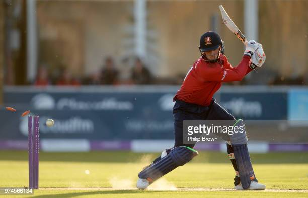 Simon Harmer of Essex Eagles is bowled by Karl Carver during the Royal London OneDay Cup match between Essex Eagles and Yorkshire Vikings at the...